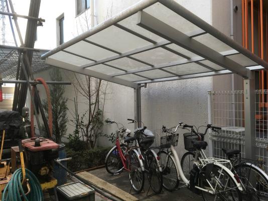 岡崎市・幸田町で外構・エクステリア・庭の設計施工を手掛けるサンホームズが手掛けたサイクルポート移動工事